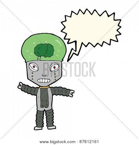 cartoon future robot with speech bubble