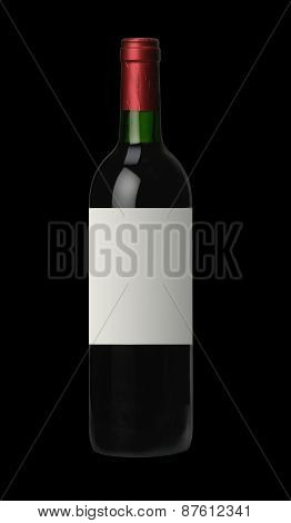 Bottle Of Red Wine Over Black Background