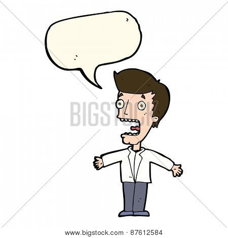 cartoon screaming man with speech bubble
