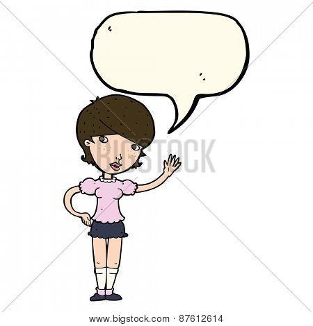 cartoon girl waving with speech bubble
