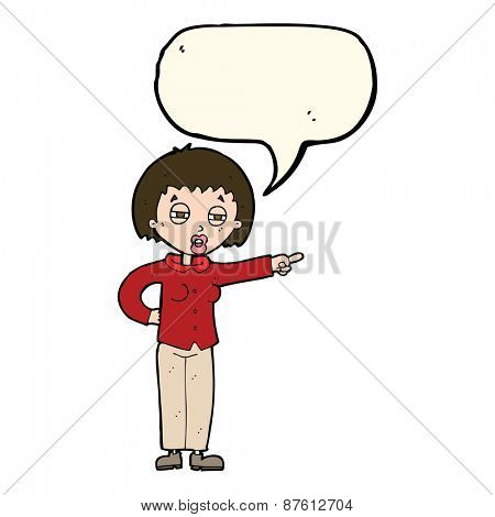 cartoon woman telling off with speech bubble