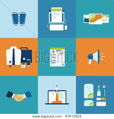 Business process icons set