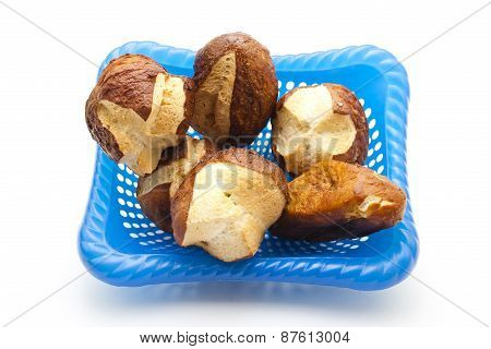 Fresh Baked Brown Lye Bread Rolls