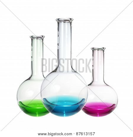 Test-tubes With Colorful Liquid Isolated On White