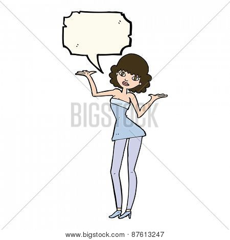 cartoon woman in cocktail dress with speech bubble