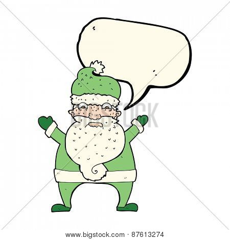 cartoon stressed out santa with speech bubble