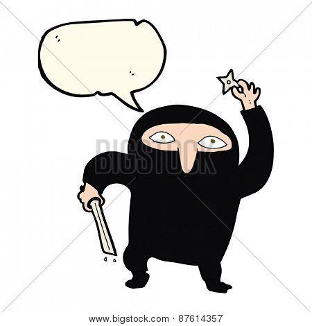 cartoon ninja with speech bubble
