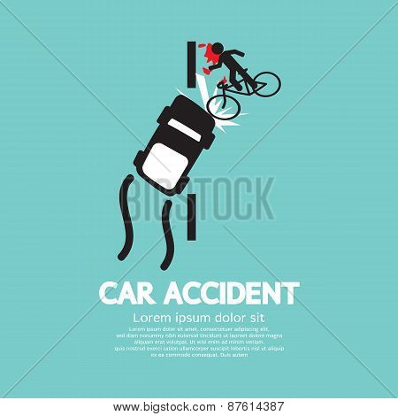 Car Accident With Bicycle.