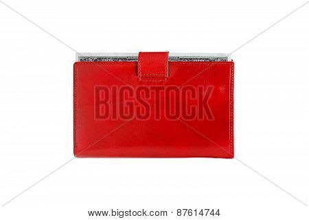 Dollars In Red Leather Purse Isolated On White Background