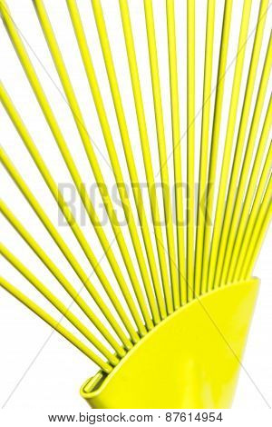 Yellow Fan Rake Isolated White Background