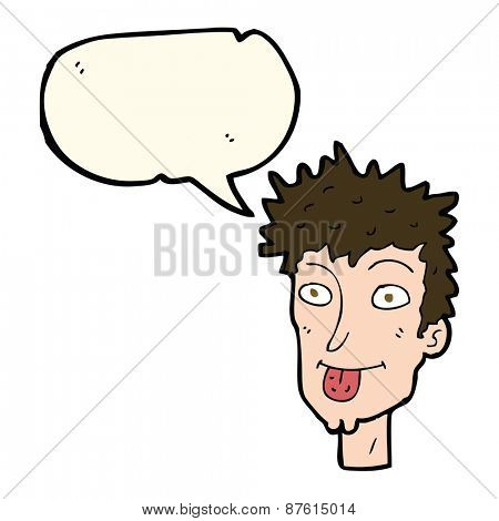 cartoon man sticking out tongue with speech bubble