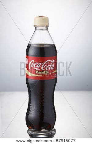 Kuala Lumpur,Malaysia 9th April 2015, bottle of the coca cola vanilla  on the white background