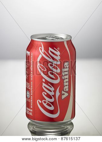 Kuala Lumpur,Malaysia 9th April 2015,can of the coca cola vanilla on the white background