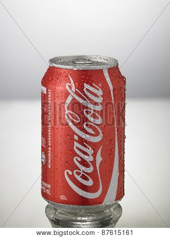 Kuala Lumpur,Malaysia 9th April 2015,can of the coca cola  on the white background