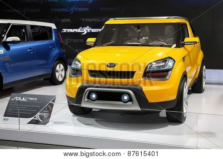 NEW YORK - APRIL 1: Kia exhibit  Kia Soulster rat the 2015 New York International Auto Show during Press day,  public show is running from April 3-12, 2015 in New York, NY.