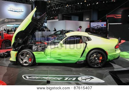 NEW YORK - APRIL 1: Dodge exhibit Dodge Viper GT at the 2015 New York International Auto Show during Press day,  public show is running from April 3-12, 2015 in New York, NY.
