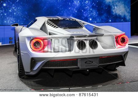 NEW YORK - APRIL 1: Ford exhibit Ford GT at the 2015 New York International Auto Show during Press day,  public show is running from April 3-12, 2015 in New York, NY.