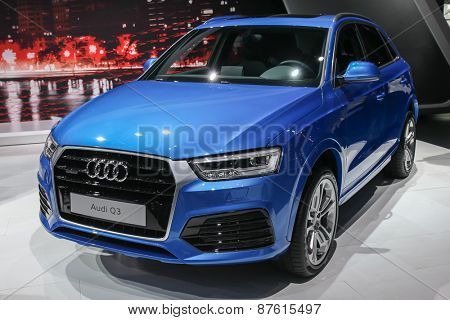 NEW YORK - APRIL 1: Audi exhibit Audi Q3 at the 2015 New York International Auto Show during Press day,  public show is running from April 3-12, 2015 in New York, NY.