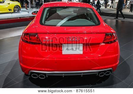 NEW YORK - APRIL 1: Audi exhibit Audi TT at the 2015 New York International Auto Show during Press day,  public show is running from April 3-12, 2015 in New York, NY.
