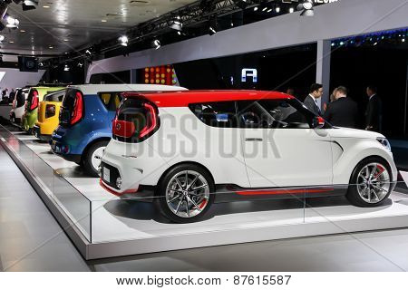 NEW YORK - APRIL 1: KIA exhibit at the 2015 New York International Auto Show during Press day,  public show is running from April 3-12, 2015 in New York, NY.