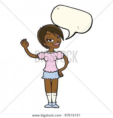 cartoon waving woman with speech bubble