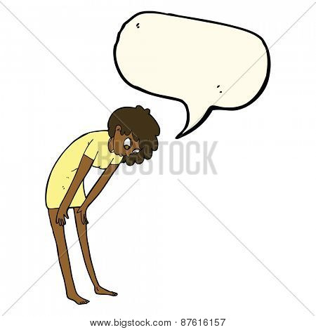cartoon woman looking at her feet with speech bubble