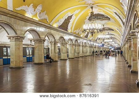 Tourists At The Metro Station Komsomolskaya In Moscow