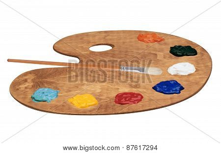 Palette Of Color Paints Isolated On White Background
