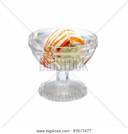 Ice cream in a glass ramekin