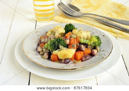 Broccoli, cauliflower, squash and beans