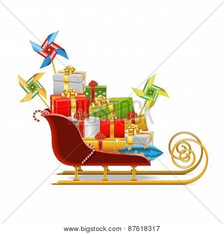 Vector Sled With Gifts