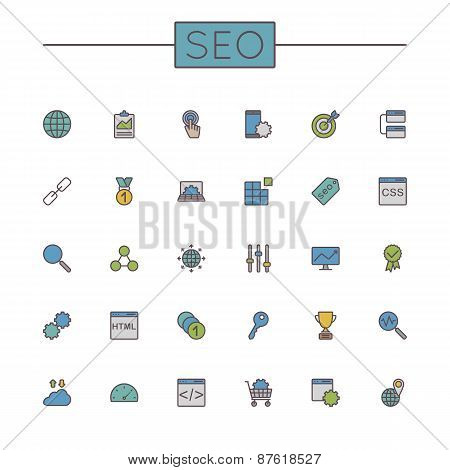 Vector Colored Seo Line Icons