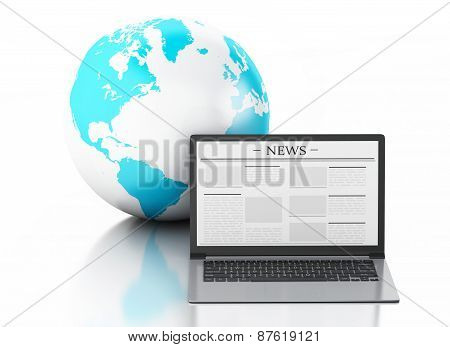 3d Laptop with news and earth globe. Media concept