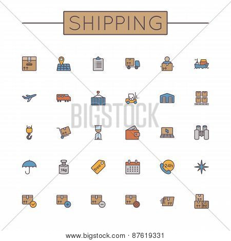 Vector Colored Shipping Line Icons