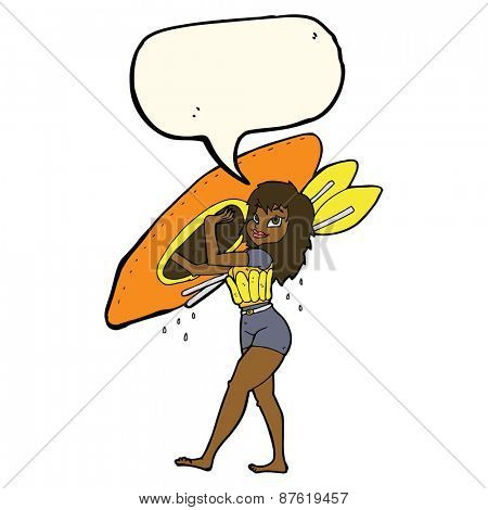 cartoon woman carrying canoe with speech bubble