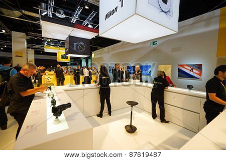 COLOGNE, GERMANY - SEPTEMBER 19, 2014: Photokina Exhibition interior. The Photokina is the world's largest trade fair for the photographic and imaging industries