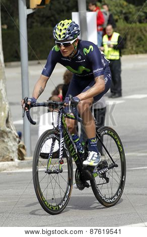 BARCELONA - MARCH, 29: Winner Anacona of Movistar Team rides during the Tour of Catalonia cycling race through the streets of Monjuich mountain in Barcelona on March 29, 2015