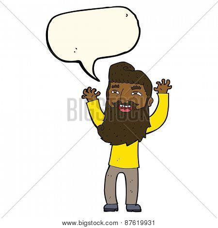 cartoon happy bearded man waving arms with speech bubble