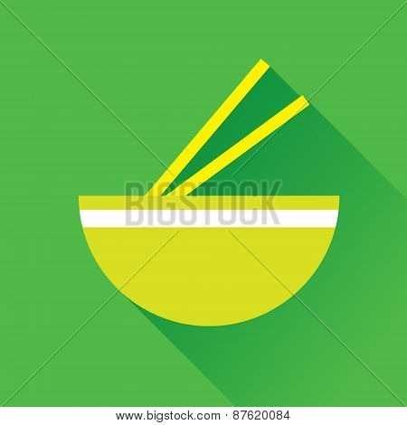 Bowl And Chopstick Flat Icon