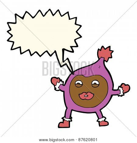 cartoon funny creature with speech bubble