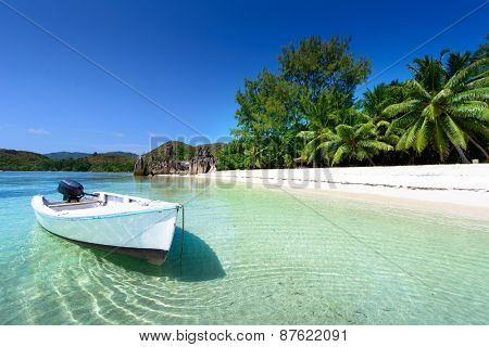 wood boat on the beach with palms