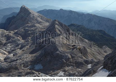 View from the summit of Mount Triglav (2,864 m) in the Julian Alps, Slovenia.
