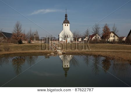 Evangelical church in the Sorbian village of Neu Horno near Forst in Lower Lusatia, Brandenburg, Germany.