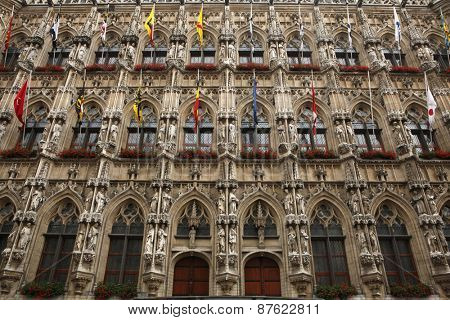 Gothic Town Hall on the Grote Markt in Leuven, Flemish Brabant, Belgium.