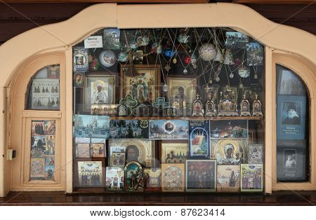 PECHORY, RUSSIA - JANUARY 25, 2011: Orthodox icons in a icon shop in the Pskovo-Pechersky Monastery (Pskov Monastery of the Caves) near Pskov, Russia.