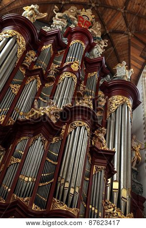 HAARLEM, NETHERLANDS - AUGUST 9, 2012: Pipe organ in the Grote Kerk (Great Church) on the Grote Markt in Haarlem, North Holland, Netherlands.