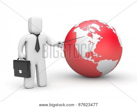 Businessman pointing to globe