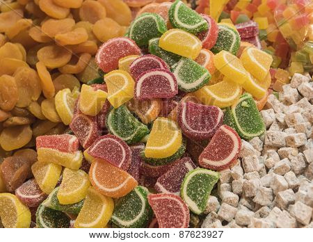 Closeup Of Sugary Fruit Sweets At A Market