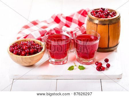 Glasses Of Cranberry Juice  With Fresh Berries