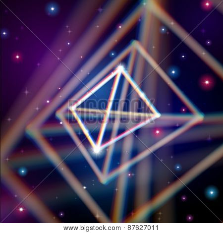 Shiny pyramid with color aberrations in space